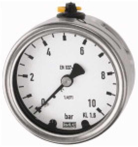 Manometer, CrNi-Stahl, G 1/2 hinten exzentr., Bild 366399 Klein