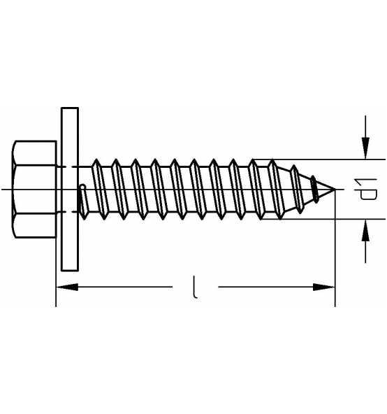 Reidl Sechskant Blechschrauben 6,3 x 25 mm DIN 7976 Stahl galv verzinkt farblos 10 St/ück